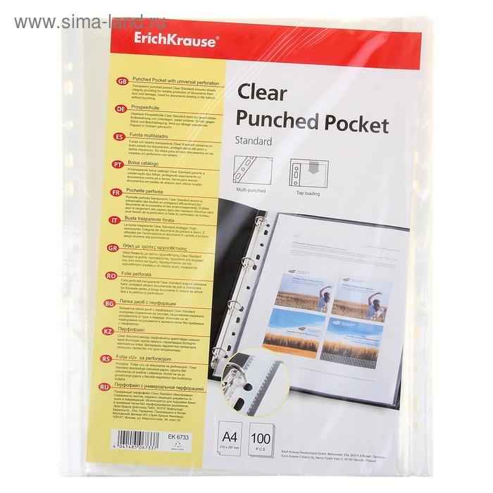 Файл-вкладыш А4 30мкм Clear Standard прозрачный, упаковка 100 штук EK 6733