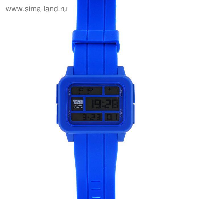 Часы наручные мужские электронные с подсветкой на силиконовом ремешке, цвет синий