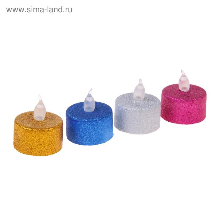 Свеча световая с блестками. цвета МИКС