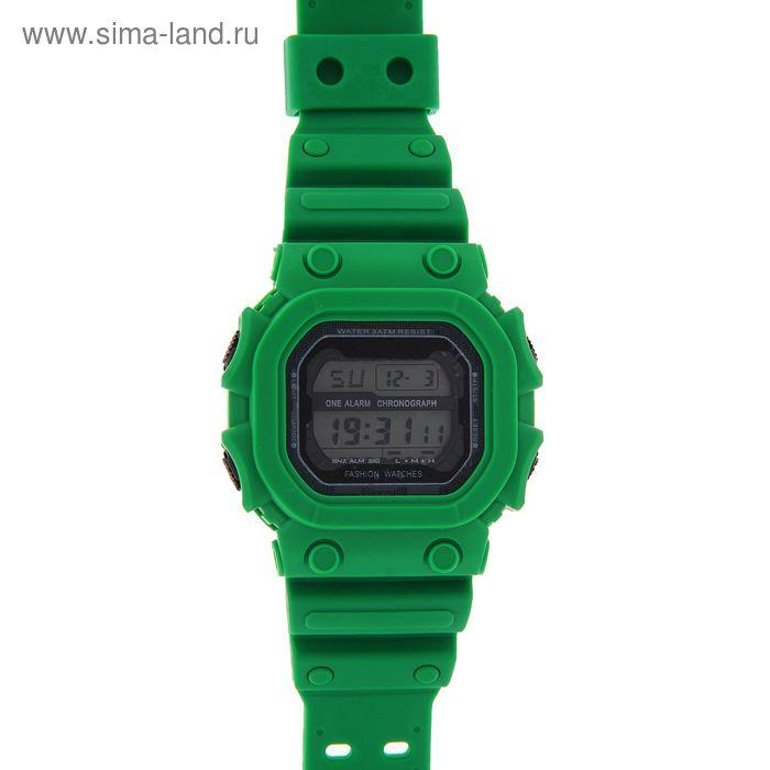 Часы наручные мужские электронные функциональные на силиконовом ремешке, двойная застежка, цвет зеленый