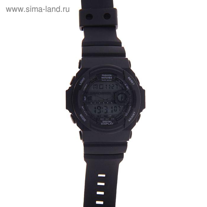 Часы наручные мужские электронные функциональные на силиконовом ребристом ремешке, цвет черный