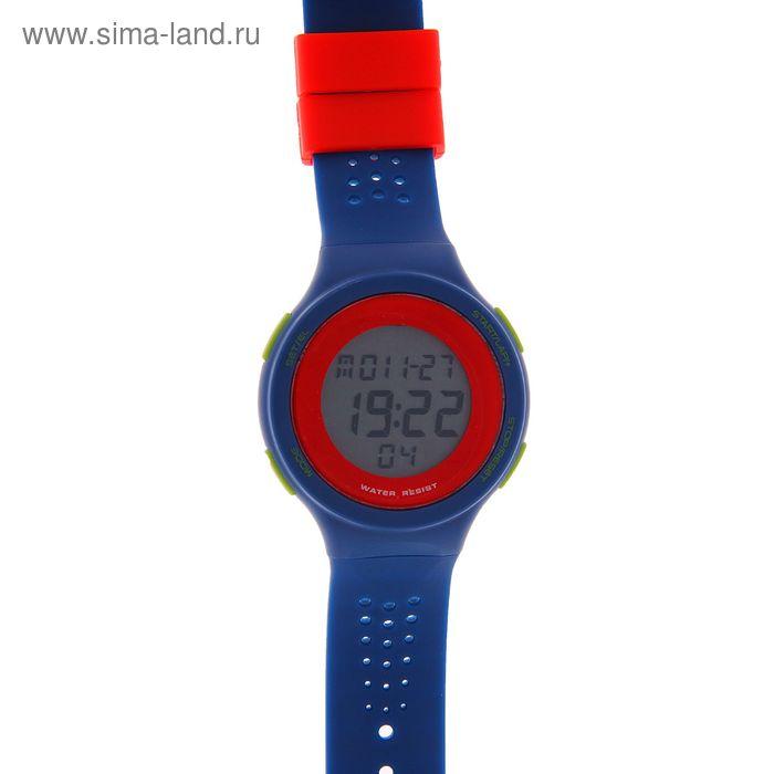 Часы наручные мужские электронные на силиконовом ремешке, цвет синий с красным