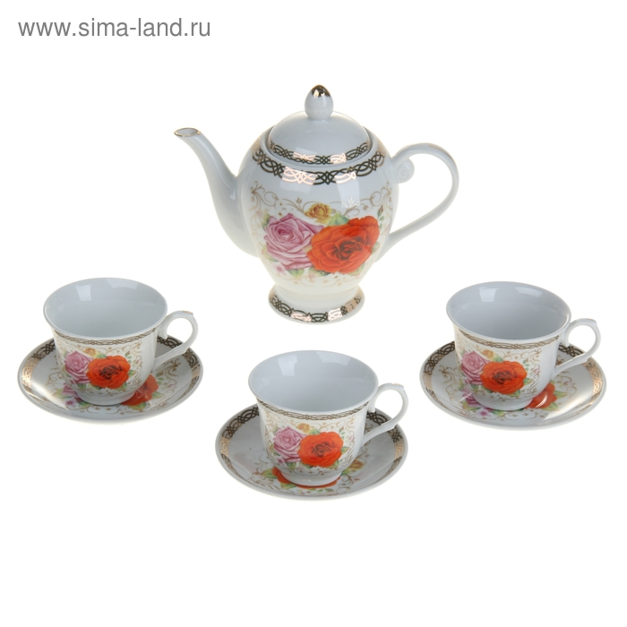 "Набор чайный ""Кристина"", 7 предмета: чайник 800 мл, 3 чашки 220 мл, 2 блюдца"