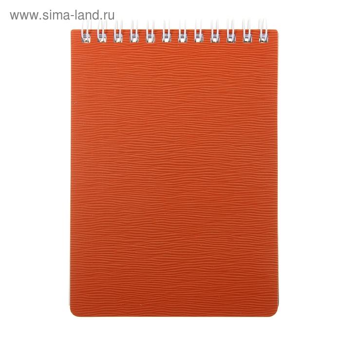 Блокнот пластиковая обложка А6, 80 листов на гребне WOOD, Красный