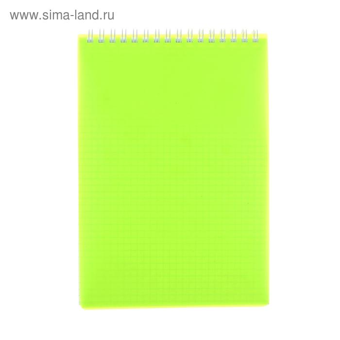 Блокнот в пластиковой обложке А5, 80 листов на гребне DIAMOND НЕОН желтый