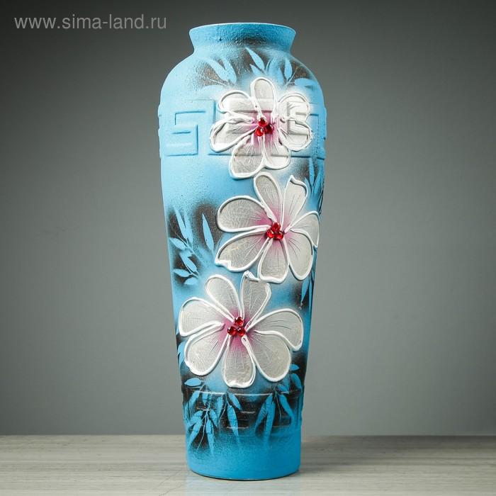 """Ваза напольная """"Арго"""" цветы, синяя"""