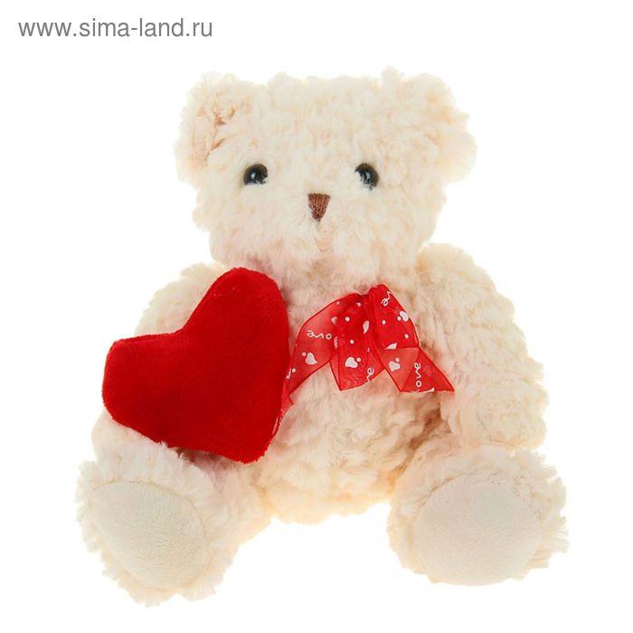 """Мягкая игрушка """"Мишка букле"""", на боку сердце, цвета МИКС"""