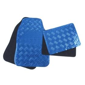 Набор ковриков для авто 4 шт, 64x43 и 45х33, глянец металлик синий