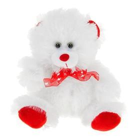 """Мягкая игрушка """"Мишка"""" белый лапки ушки красные"""