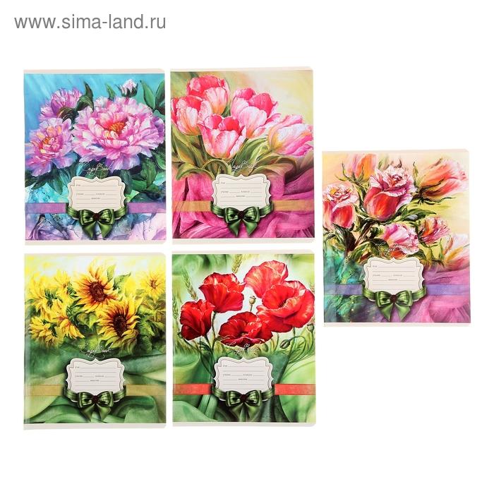 """Тетрадь 18 листов линейка """"Удивительные цветы"""", картонная обложка, выборочный УФ-лак, 5 видов МИКС"""