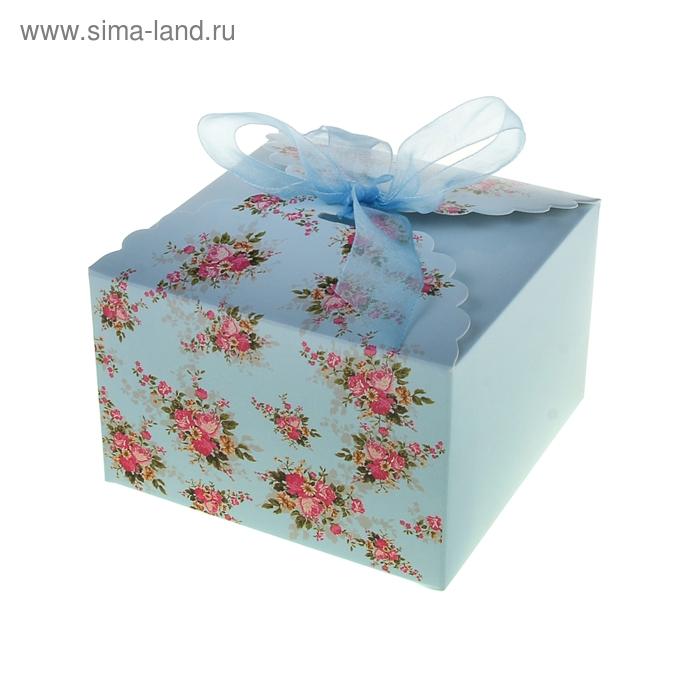 """Коробка сборная """"Цветы"""", цвет голубой"""