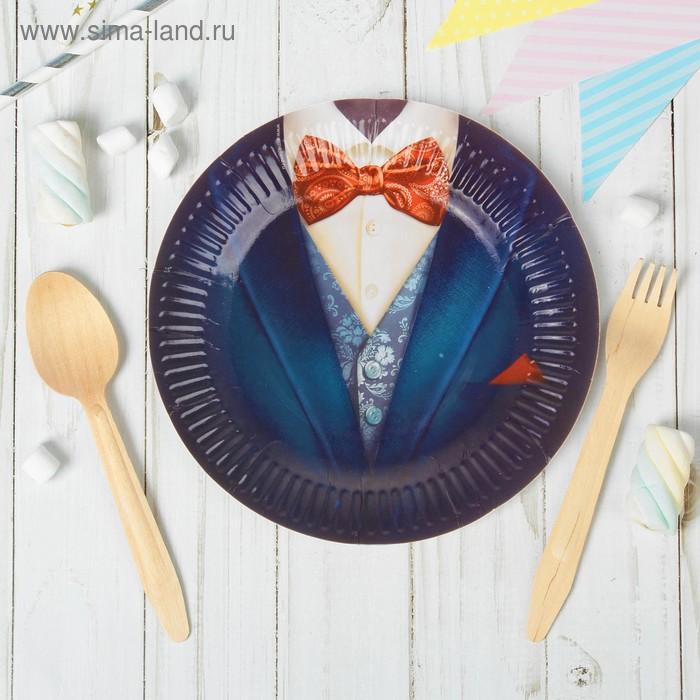 "Набор бумажных тарелок ""Джентльмен"" (6 шт.), 18 см"