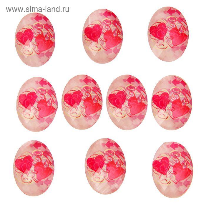 """Декор для творчества """"Овалы с ярко-розовыми сердечками"""", набор 10 шт."""