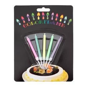 """Свечи восковые для торта """"Цветное пламя"""" (набор 5 шт)"""