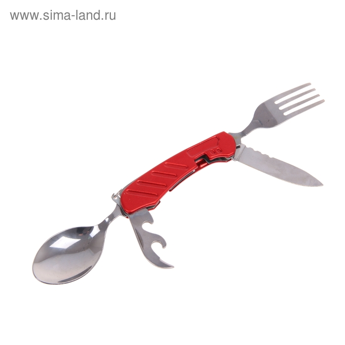 Набор туриста 4в1: нож, вилка, ложка, открывалка, рукоять с насечками