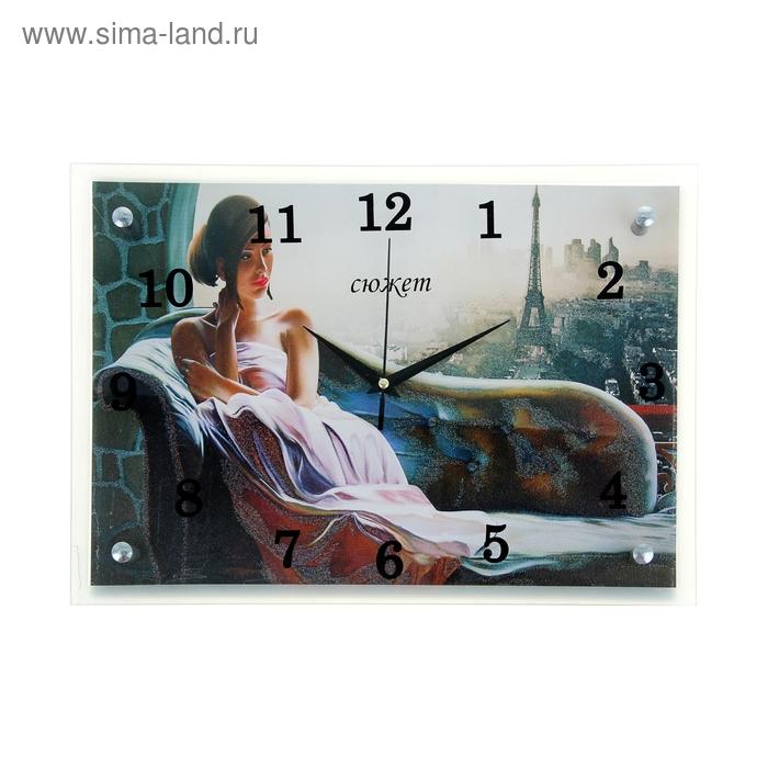 """Часы настенные прямоугольные """"Девушка"""", 25х35 см"""