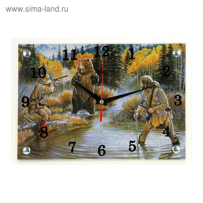 "Часы настенные прямоугольные ""Охота на медведя"", 25х35 см"