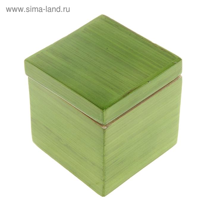 """Шкатулка бамбуковая """"Зеленый лак"""", малая"""