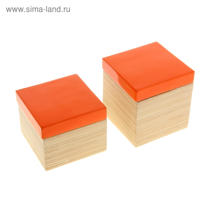 "Набор шкатулок 2 шт ""Оранжевый глянец"""