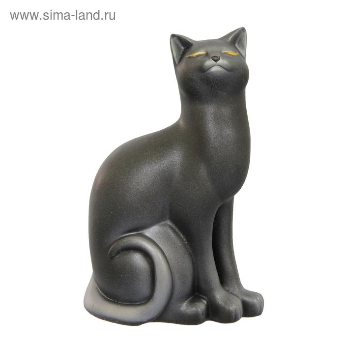 """Сувенир """"Кошка Мурка"""" большая черная с серебром"""