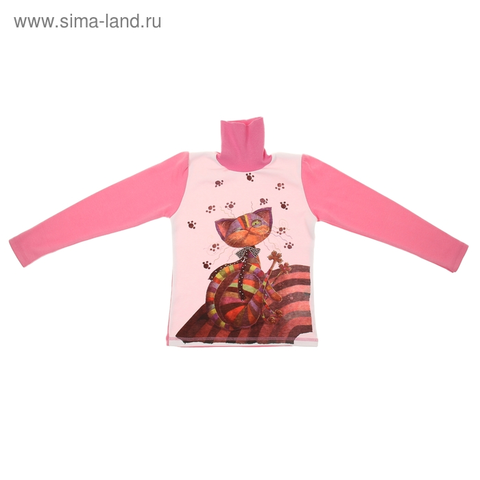 """Джемпер для девочки """"Кошка со стразами"""", рост 122 см (32), цвет розовый"""