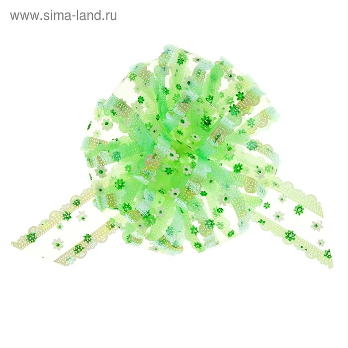 "Бант-шар № 5 ""Цветочки"", цвет зелёный"