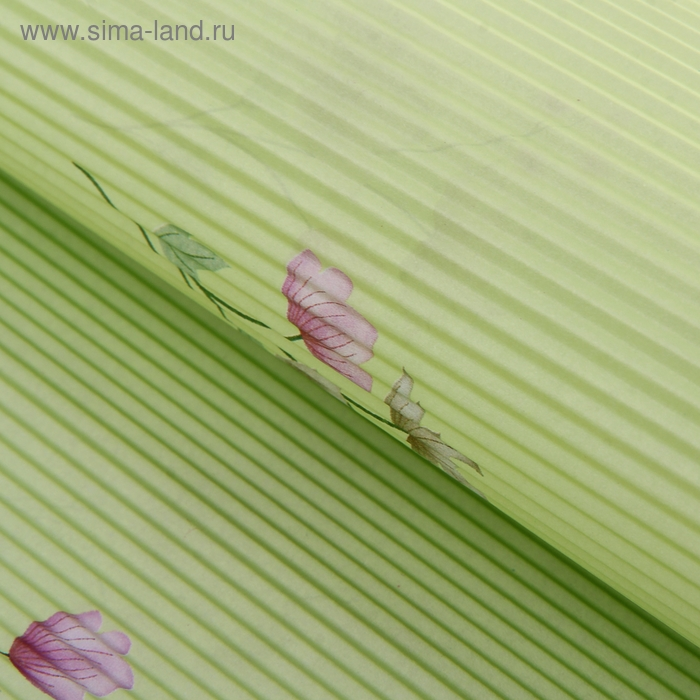 """Бумага гофрированная """"Цветочный узор"""", цвет зеленый"""