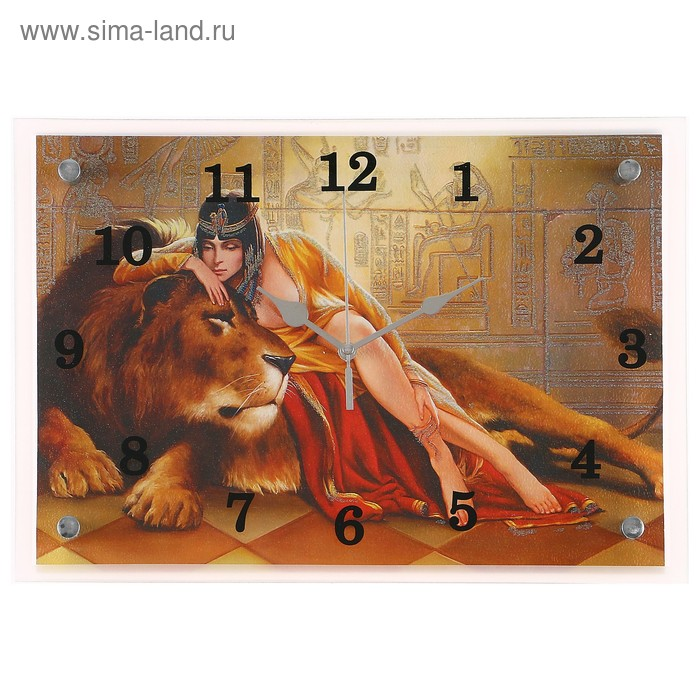 """Часы настенные прямоугольные """"Царица со львом"""", 25х35 см"""
