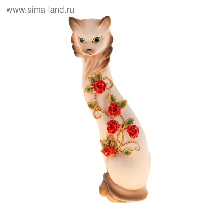 """Копилка """"Кошка Маркиза"""" средняя с китайскими розочками крем медь гипс"""