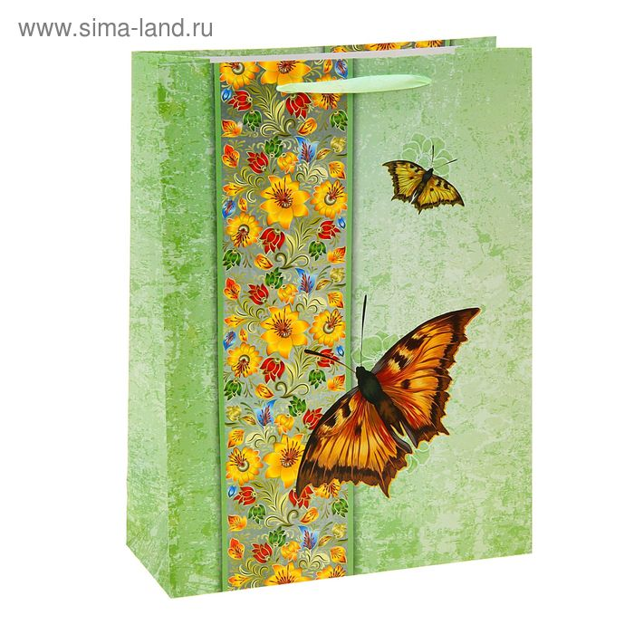 """Пакет ламинированный """"Бабочки"""", цвет зеленый"""