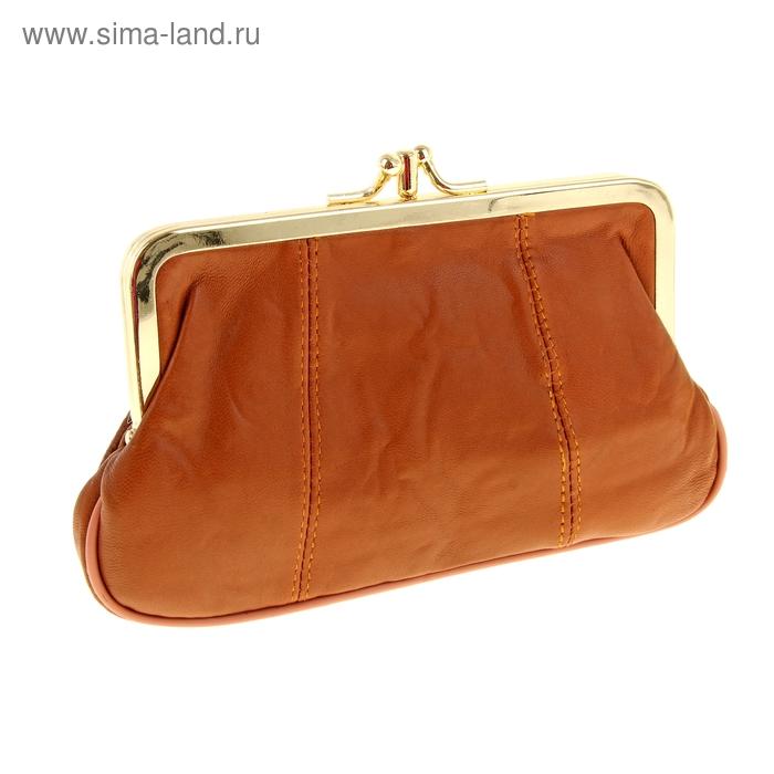Косметичка на рамке, 2 отдела, 2 наружных кармана, коричневая