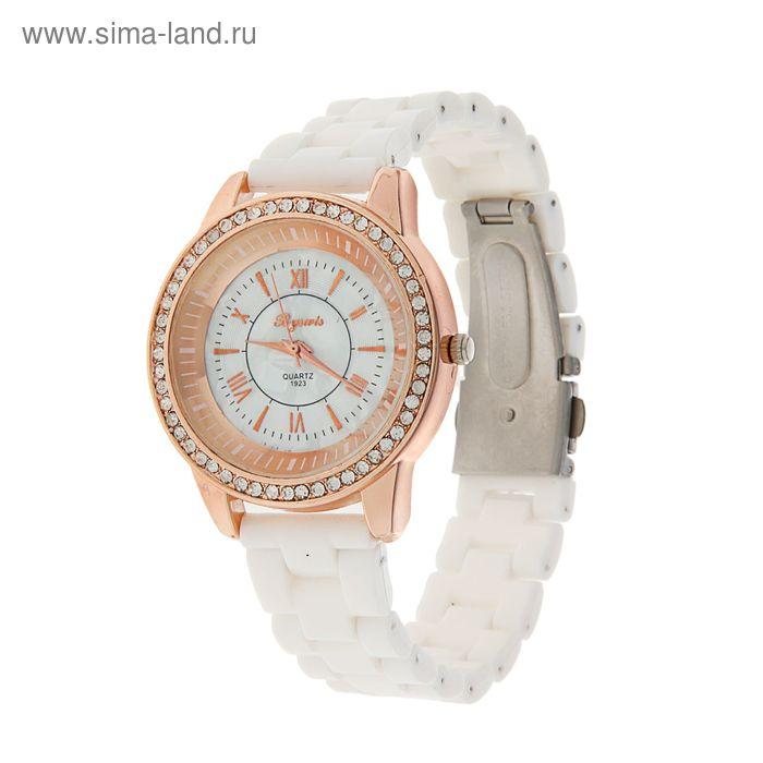 Часы женские на браслете белые, обод со стразами