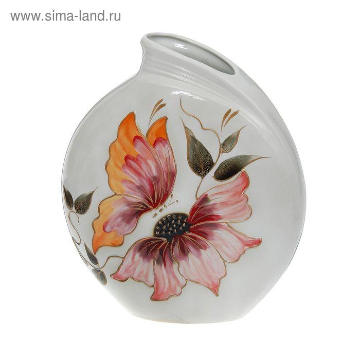 "Ваза ""Бали"" цветы, белая, микс"