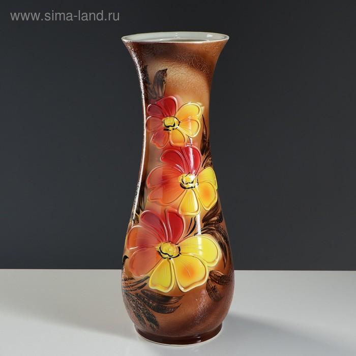 "Ваза напольная ""Осень"" лепка, роспись, цветы"