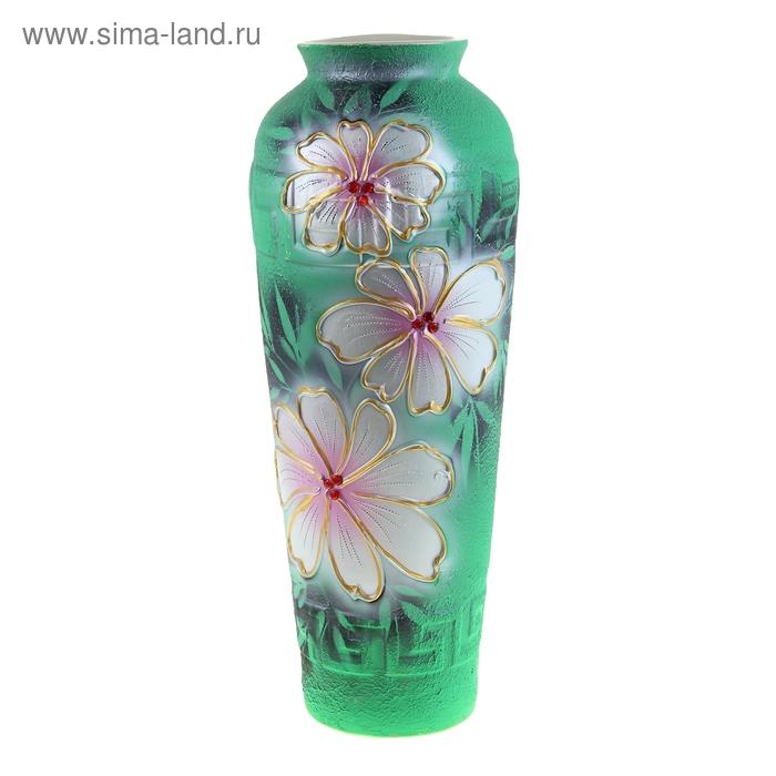 """Ваза напольная """"Арго"""" цветы, зелёная"""