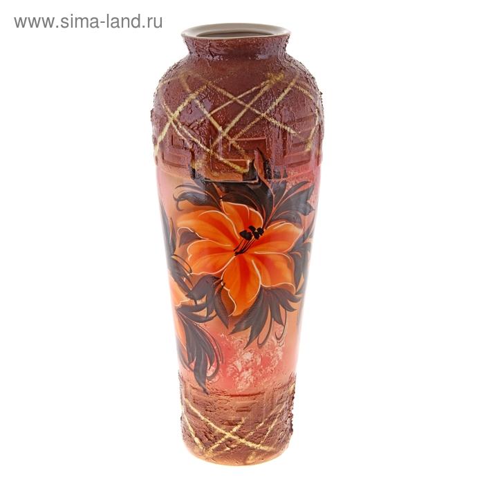 """Ваза напольная """"Арго"""" цветы, шамот, коричневый"""