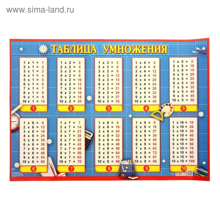 "Плакат ""Таблица умножения"", 49 х 69 см"