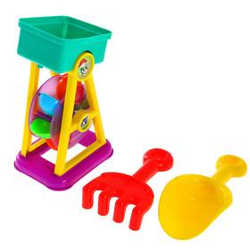"""Песочный набор """"Мельница"""" 3 предмета: мельница, грабли, совок"""