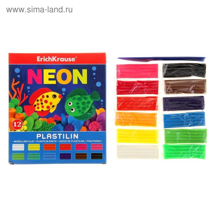 Пластилин 12 цветов 216г Neon, со стеком, EK 37279