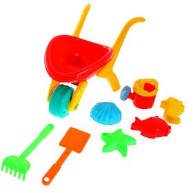 """Песочный набор """"Тачка"""" 8 предметов: тележка, лейка, лопатка, грабли, 4 формочки"""
