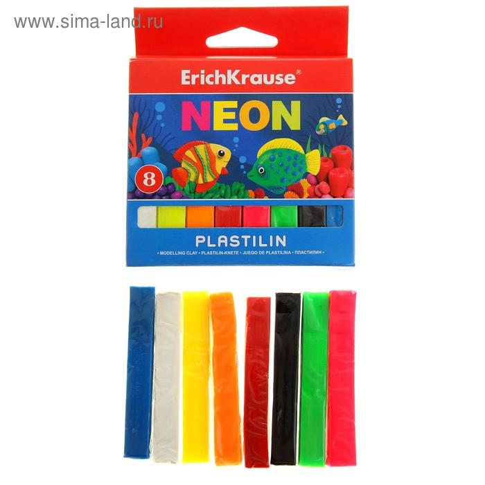 Пластилин 8 цветов 120гр Neon, картон с европодвесом, EK 37273