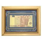 """Купюра в рамке 500 Евро """"Деньгами надо управлять"""", цвет золотой"""