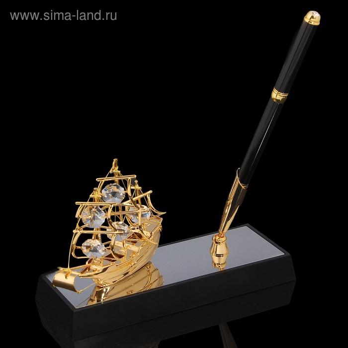 Ручка на подставке «Парусник», 16,5х6х20 см, с кристаллами Сваровски