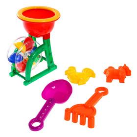 """Песочный набор """"Мельник"""" 5 предметов: мельница, 2 формочки, грабли, лопатка, цвета МИКС"""