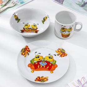 """Набор посуды """"Пчёлы"""", 3 предмета: кружка 200 мл, салатник 360 мл, тарелка мелкая d=17 см, рисунок МИКС"""