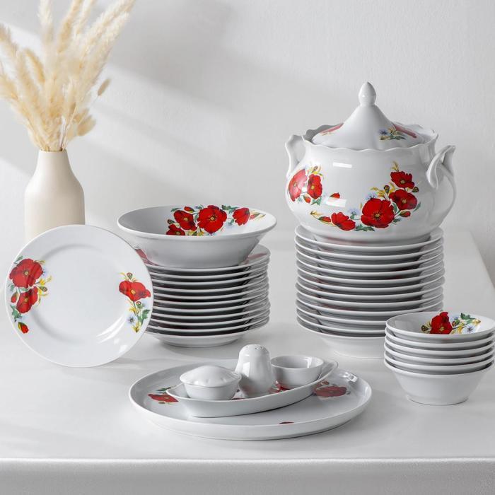 """Сервиз столовый """"Маки красные"""", 37 предметов, 2 вида тарелок"""