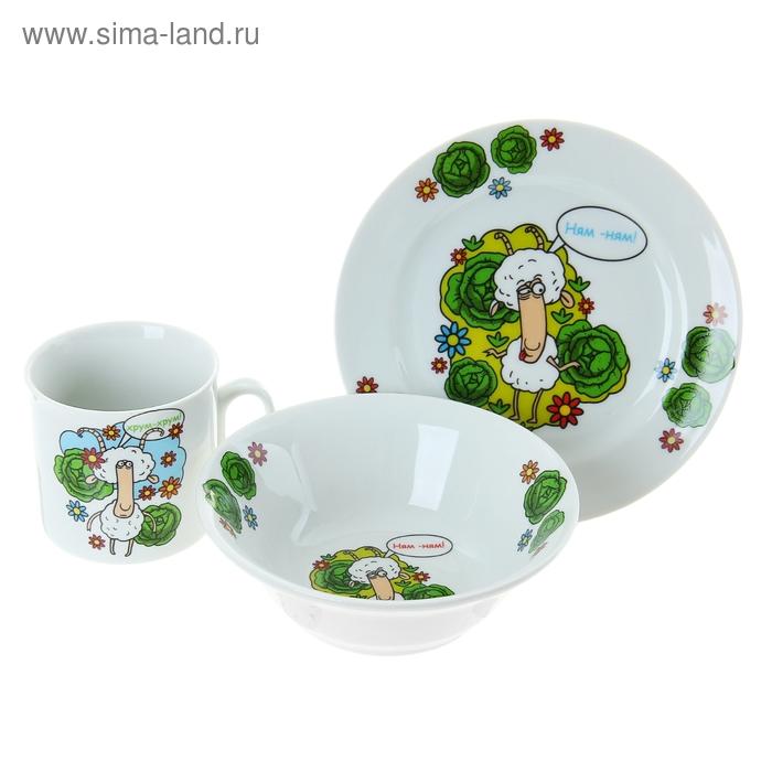"""Набор посуды """"Барашки"""", 3 предмета: кружка 200 мл, тарелка d=17 см, салатник d=36 см"""