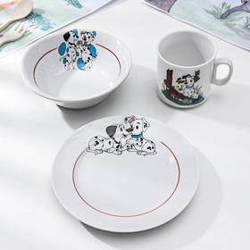 "Набор посуды ""Далматинцы"", 3 предмета: кружка 200 мл, салатник 360 мл, тарелка мелкая d=17 см, МИКС"