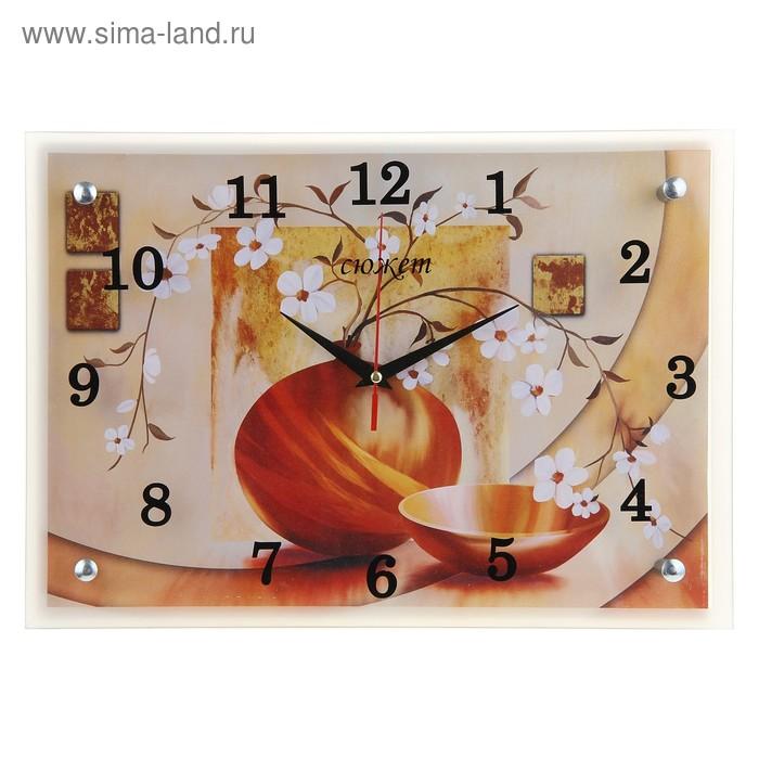 """Часы настенные прямоугольные """"Ваза"""", 25х35 см"""