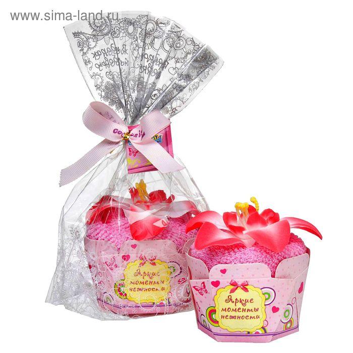 """Полотенце сувенирное пироженка """"Collorista"""" Бело-розовая лилия в глазури 30х30 см, хлопок"""